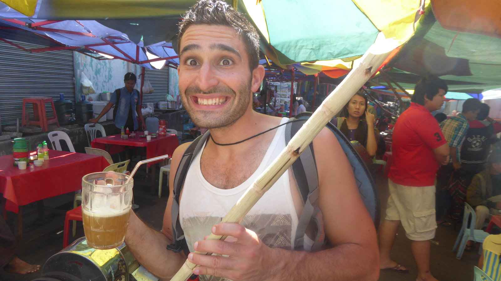Sugar cane juice is a refreshing and naturally sweet beverage that you can find at street food stalls in Laos