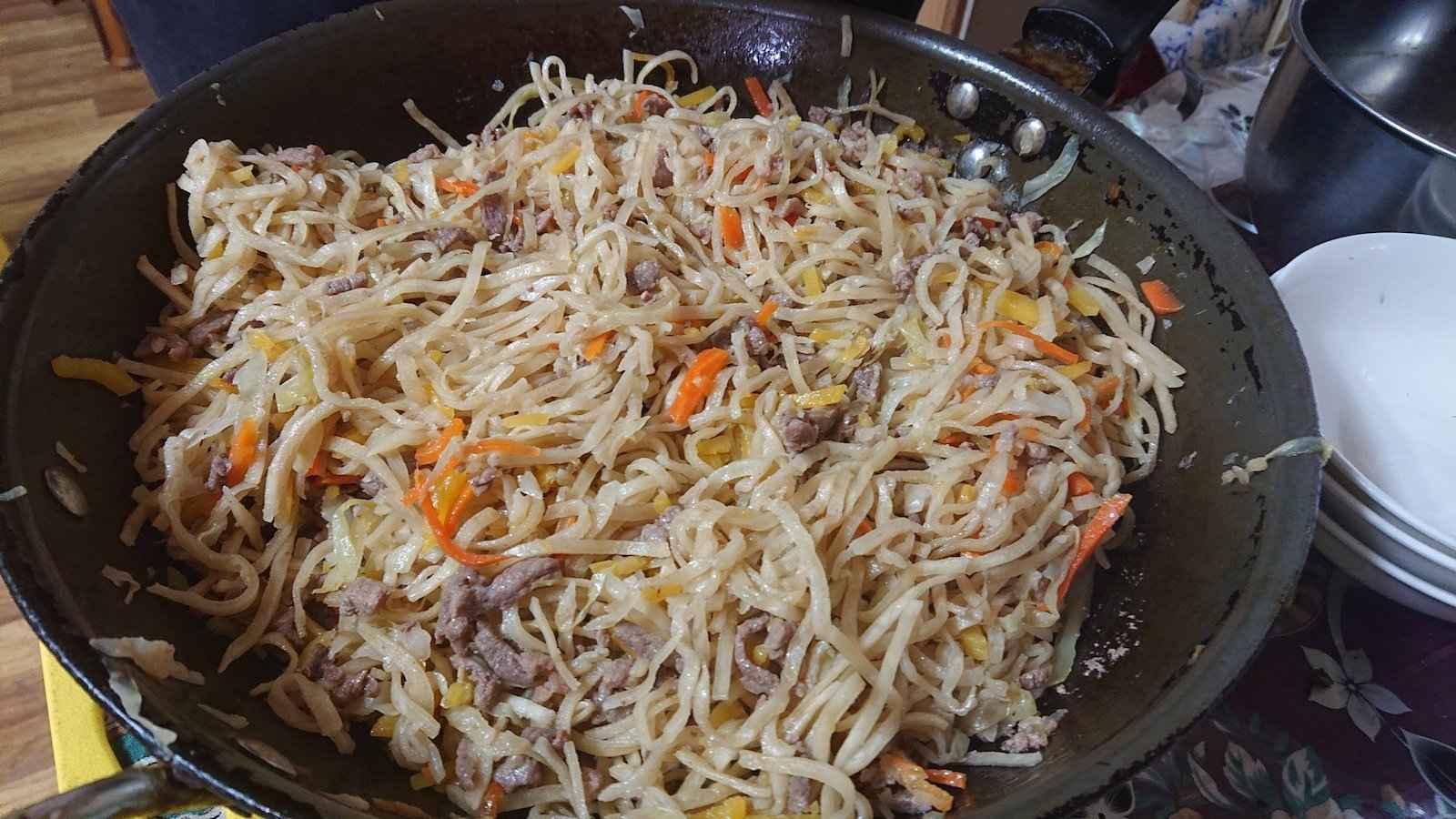 Tsuivan is a delicious traditional food of Mongolia we loved eating during our travels