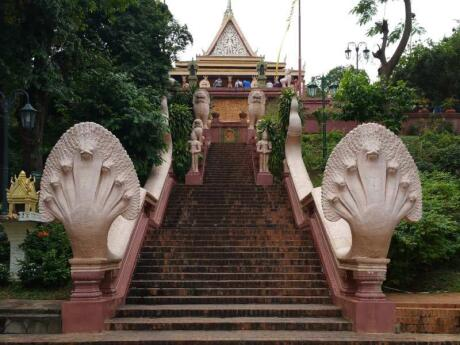 Climb a small hill in Phnom Penh to visit the city's most important temple: Wat Phnom