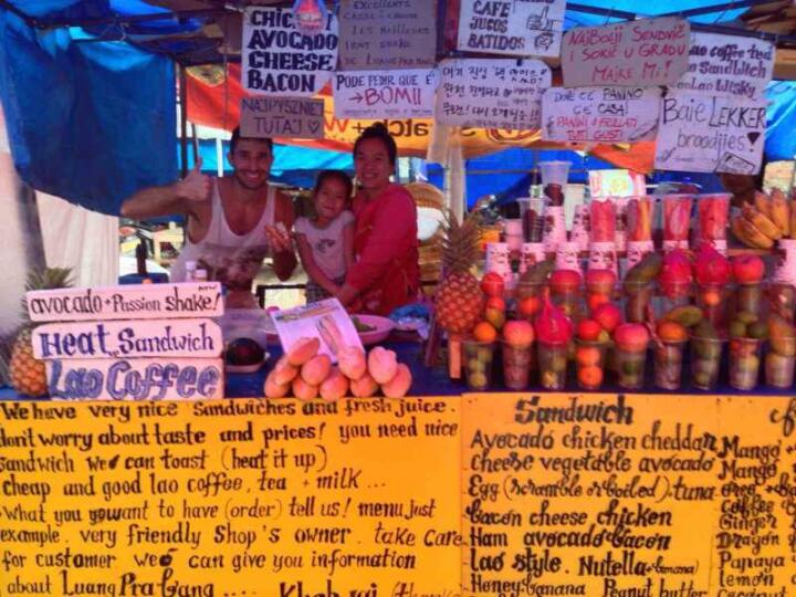 There are many vendors in Luang Prabang selling yummy baguettes, smoothies and juices for lunch