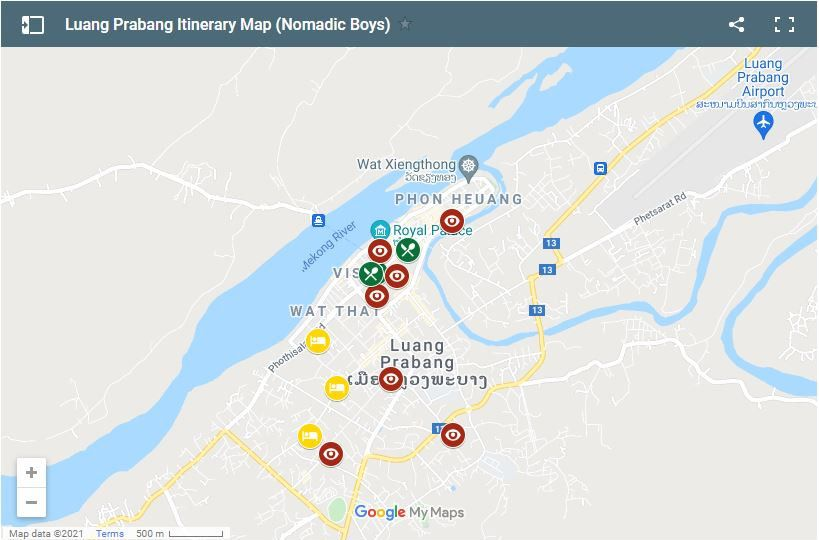 Use this map to help plan your time in Luang Prabang