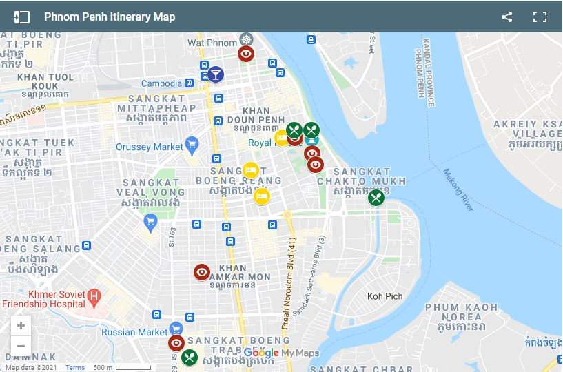 Use this map to help plan your two day itinerary in Phnom Penh