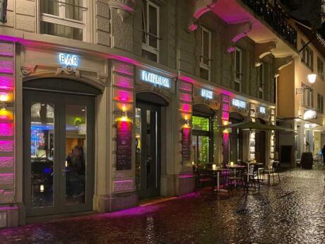 The bar at the Platzhirsch Hotel is a fab gay bar in Zurich