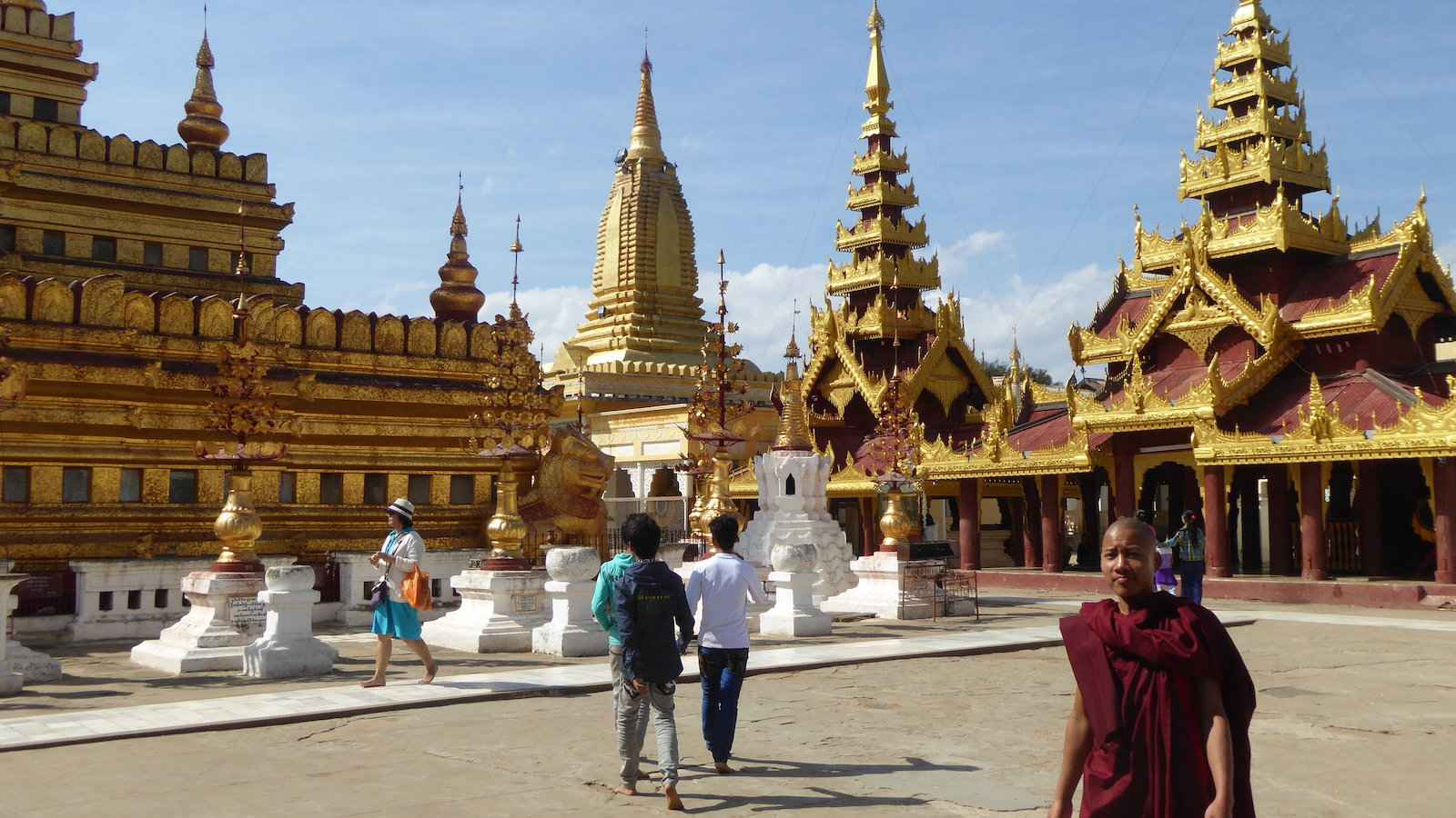 Shwezigon Pagoda is a gorgeous gold temple in Bagan, Myanmar