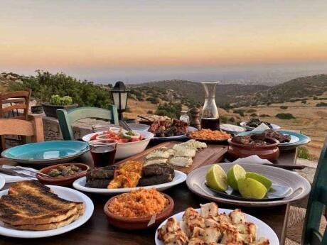 Agios Epiktitos Taverna serves delicious food and wine alongside a stunning view over Cyprus