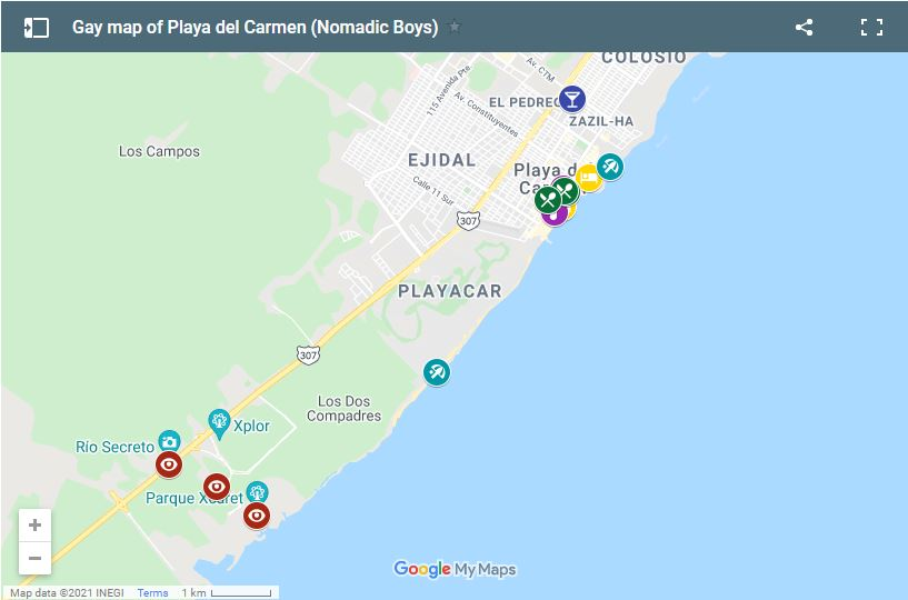 Use our gay map of Playa del Carmen to plan your own fabulous holiday
